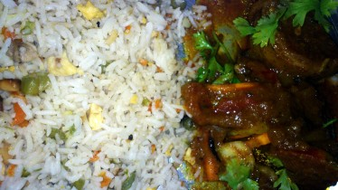 Chicken Egg Fired Rice with Alur Dum